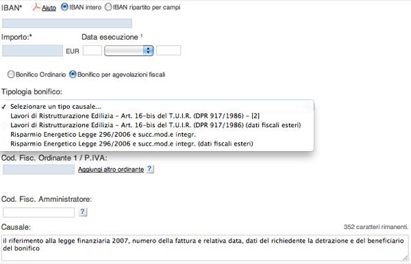 il riferimento alla legge finanziaria 2007, numero della fattura e relativa data, oltre ai dati del richiedente la detrazione e del beneficiario del bonifico