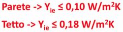 caldo - Prestazione estiva della parete in bimattoni e verifica della trasmittanza Yie 36
